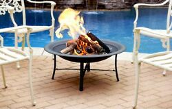 30in Steel Backyard Outdoor Patio Deck Fire Bowl Fireplace Wood Burning Pit New