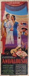 BIG SIZE OLD POSTER LUIS MARIANO ANDALOUSIE with CARMEN SEVILLA CORRIDA c1951