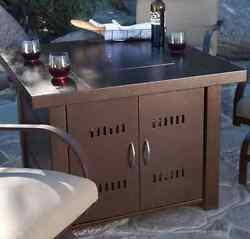 Outdoor Fire Pit Table Patio Deck Propane Gas Heater Antique Bronze Finish Cover