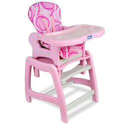 Pink Plastic Baby Infant Toddler Adjustable Kitchen High Chair  Feeding Table