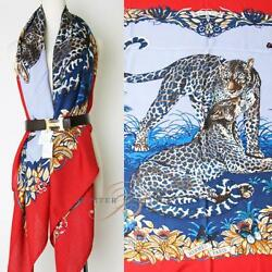 Hermes Shawl Scarf Cashmere Silk Jungle LOVE Tiger Animal Leopard print Auth 56