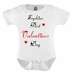 Personalised Baby Vest Named First Valentines Baby Bodysuit Cute Valentine Gift GBP 4.99