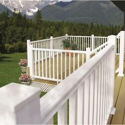 Outdoor 7-34 ft. x 36 in. White Vinyl Stair Hand Rail Kit Porch Railings