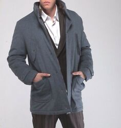 ISAIA NAPOLI *Luxury* Mink Cashmere Coat with Down Padding in Gray MSRP $5790 XL