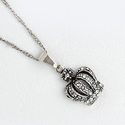 Crown Pendant for Women in Vintage White Gold Filled and Cubic Zirconia $12.00