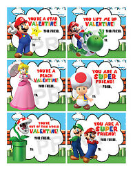 Super Mario Brothers Valentines for Classroom School Valentines Day Cards $5.00
