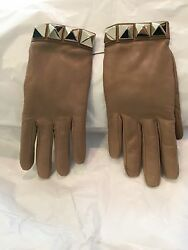 Valentino Brown Leather and Cashmere Rockstud Gloves Size 7.5 $675