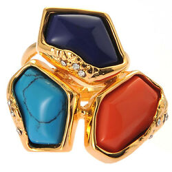 De Buman 18K Yellow Gold Plated Red Coral Turquoise and Lapis Ring