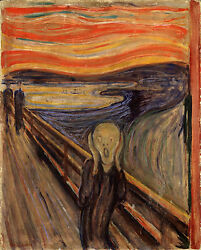 The Scream by Edvard Munch Expressionism Painting Real Canvas Art Print $14.97