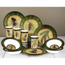 Melamine Dinnerware Sets For 4 Camp Dishes RV Rustic Cabin Pine Cone Dining