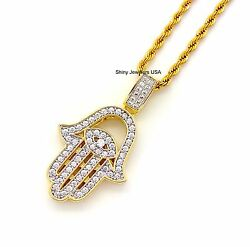 LUXURY GOLD EVIL EYE HAMSA PENDANT ROPE CHAIN NECKLACE ( LAB SIMULATED DIAMOND)