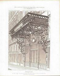 Ornate Wrought Iron Balcony Facade Marquise 1883 Architecture Print