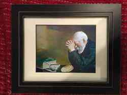 Framed Enstrom Grace Old Man Praying Over Supper Painting Real Canvas Art Print $98.97