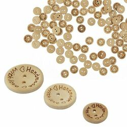 100pcs Wood Love Heart  Handmade 2 Holes Wooden Buttons Sewing Scrapbooking DIY