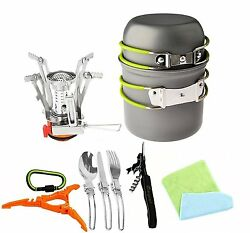 12Pcs Backpacking Stove Camping Outdoor Cookware Portable Ultralight SportHiking