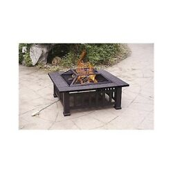 Outdoor Fire Pit Wood Burning Large Square Patio Cover Faux Stone Table New