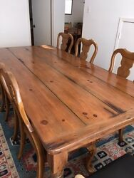 Rustic Antique-Style Wide Plank Farmhouse Kitchen Dining Table