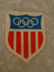 Vintage Olimpic Patch Sewing supplies craft old red white blue USA