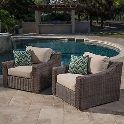 2pc Sunbrella® Outdoor Club Chairs Patio Set Furniture 2 Pack Deep Seating Arm