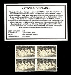 1970 - STONE MOUNTAIN - Mint -MNH- Block of Four Vintage Postage Stamps $4.25