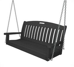 POLYWOOD Nautical 48 in. Slate Grey Patio Swing Outdoor Porch Furniture NS48GY