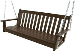 POLYWOOD 60 in.Vineyard Mahogany Patio Swing Outdoor Porch Furniture GNS60MA