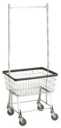 COMMERCIAL WIRE LAUNDRY BASKET CART W HANGER RACK NEW