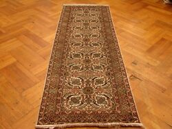 Silk Ivory Original Design Runner Authentic Handmade Rug 2' 6'' X 8'
