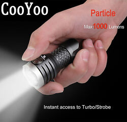 CooYoo Particle 3xCREE XP-G2 1000LM 6Modes USB Compact LED Flashlight
