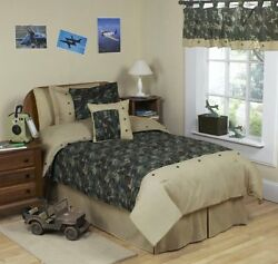 Army Green Camo Childrens 4 Piece Boys Twin Bedding Set