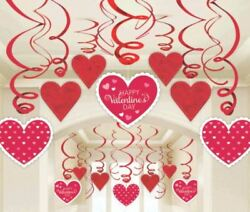 Valentines Day Party 14 Foil Hanging Decorations Heart Shop Decor Display Swirls GBP 6.99