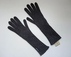 New Burberry Cashmere Blend Ribbed Knitted Touch Phone Gloves Long One Size Gray
