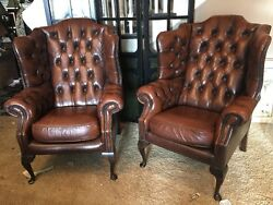 Pair Set Of 2 -Leather Chair Tufted Wing Back Brown Hardwood Frame
