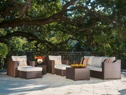 Patio Sectional Furniture Outdoor 9-Piece Chairs Ottomans Coffee Table Cushions