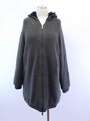 NWT$5995 Brunello Cucinelli Cashmere-Silk Shiny Sequined Reversible Zip Hoodie M