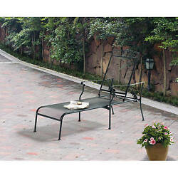 Wrought Iron Chaise Lounge Metal Outdoor Patio Porch Chair Steel Pool Deck Seat