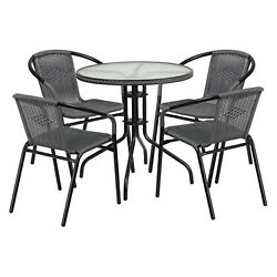 Outdoor Patio Dining Set Table and 4 Chairs Furniture Bistro Garden Pool Metal