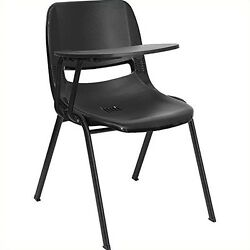 Flash Furniture RUT-EO1-BK-RTAB-GG Black Ergonomic Shell Chair with Right Handed