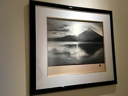 HISASHI OTSUKA ORIGINAL INK ON SILK PAINTING - SUNSET AT MOUNT FUJI