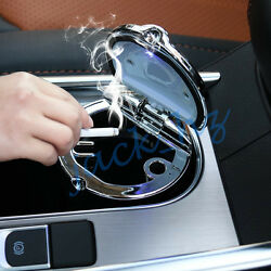 Vehicle Ashtray LED Light Portable Office Cigarette Smokeless Holder Ash Tray