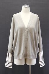 NWT$2845 Brunello Cucinelli Women 100% Cashmere & Silk Striped Sleeve Cardigan L