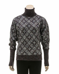 Chanel Gray Multicolor Print Turtleneck Sweater (Size 38)