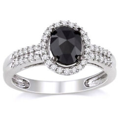 1 ct Black and White Oval Natural Diamond Frame Ring in 14K White Gold