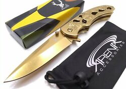 Gold Roses Pocket Knife Assisted Open Unisex Ladies Girl Women Cool Classy EDC $24.95