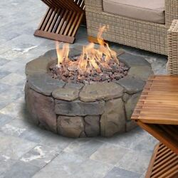 Faux Stone Fire Pit Kit Stacked Outdoor Propane Deck Heater Ring Patio 36 Inch