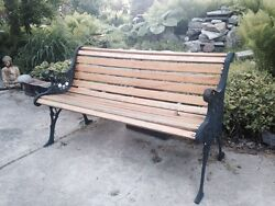 Cast iron and wood garden bench-Vintage 50