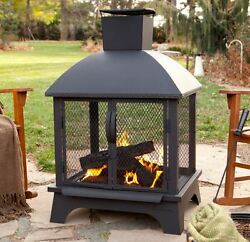 Fire Pit Wood Burning With Screen Portable Metal Fireplace Outdoor Patio Heating