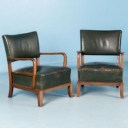 Pair of Vintage Danish Green Leather Arm Chairs