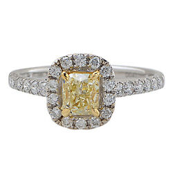 18k White Gold GIA Certified Natural Fancy Yellow Diamond Engagement Ring