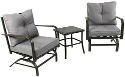 River Cottage Gardens PB6062 Brown Steel Rocking Chairs With Table 3-Piece Set